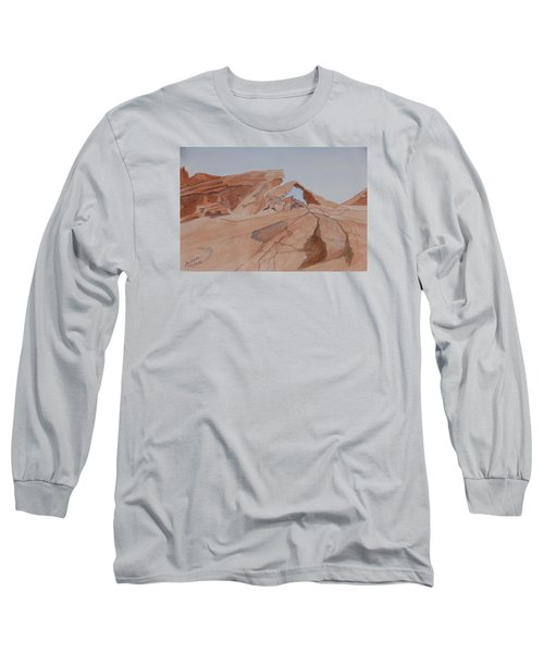Long Sleeve T-Shirt featuring the painting Arch Rock - A Watercolor Sketch by Joel Deutsch