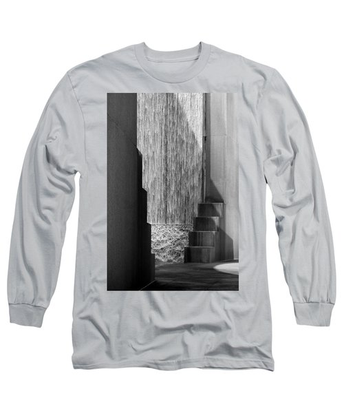 Architectural Waterfall In Black And White Long Sleeve T-Shirt