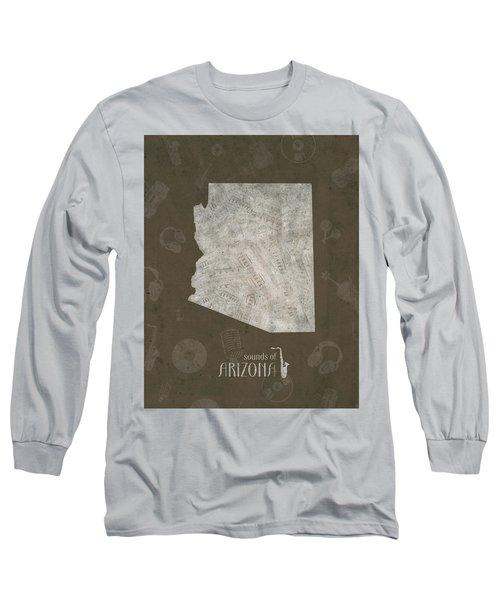 Arizona Map Music Notes 3 Long Sleeve T-Shirt