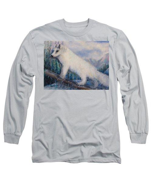 Artic Fox Long Sleeve T-Shirt by Bernadette Krupa