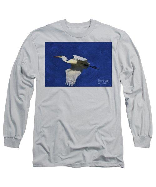 Long Sleeve T-Shirt featuring the painting Artistic Egret by Deborah Benoit