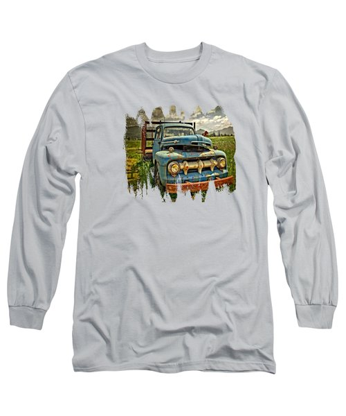 The Blue Classic 48 To 52 Ford Truck Long Sleeve T-Shirt by Thom Zehrfeld