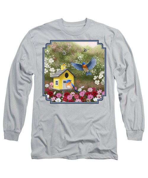 Bluebirds And Yellow Birdhouse Long Sleeve T-Shirt