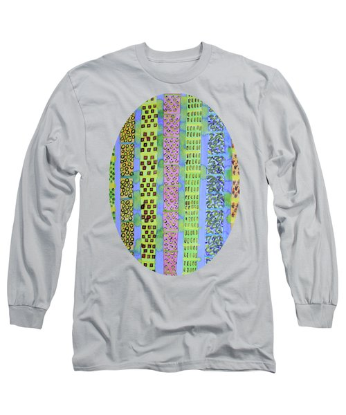Blue Vertical Stripes And Ornaments  Long Sleeve T-Shirt
