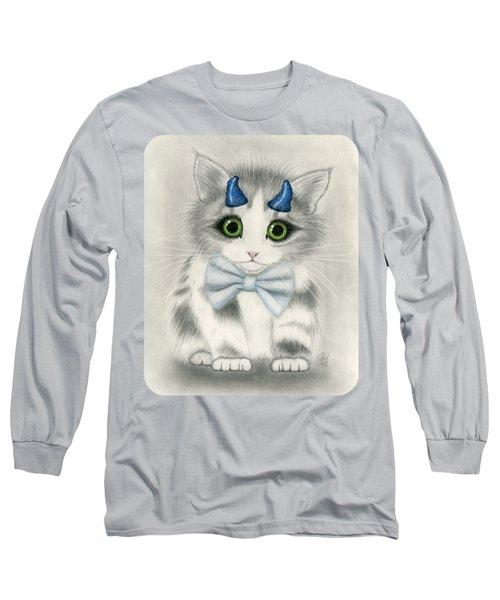 Long Sleeve T-Shirt featuring the drawing Little Blue Horns - Devil Kitten by Carrie Hawks
