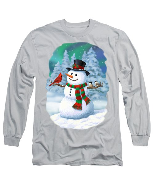 Sharing The Wonder - Christmas Snowman And Birds Long Sleeve T-Shirt by Crista Forest