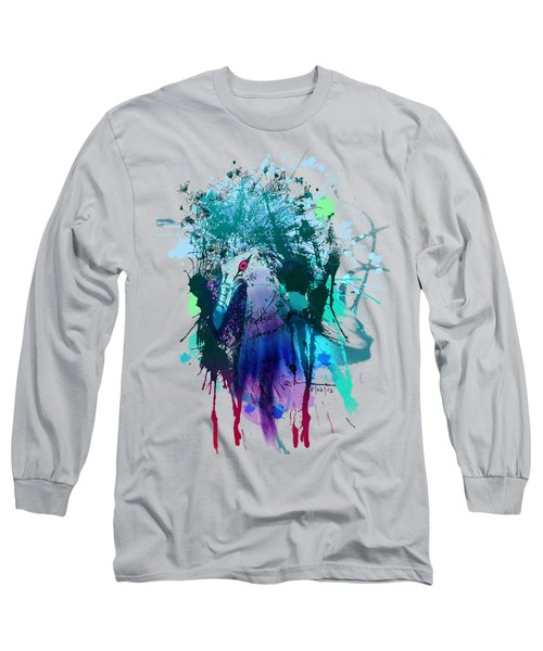 Victoria Crowned Pigeon Long Sleeve T-Shirt by Clinton Caleb