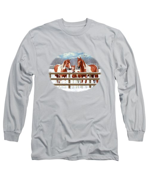 Chestnut Paint Horses In Snow Long Sleeve T-Shirt