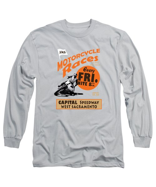 Motorcycle Speedway Races Long Sleeve T-Shirt by Mark Rogan