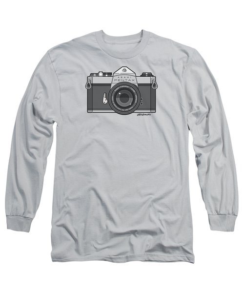 Asahi Pentax 35mm Analog Slr Camera Line Art Graphic Gray Long Sleeve T-Shirt