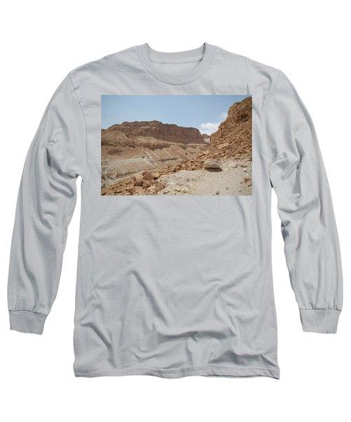 Long Sleeve T-Shirt featuring the photograph Ascension To Masada - Judean Desert, Israel by Yoel Koskas