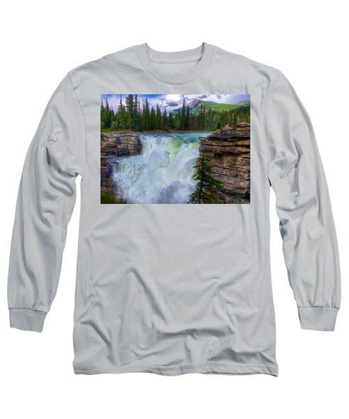 Athabasca Falls, Ab  Long Sleeve T-Shirt by Heather Vopni