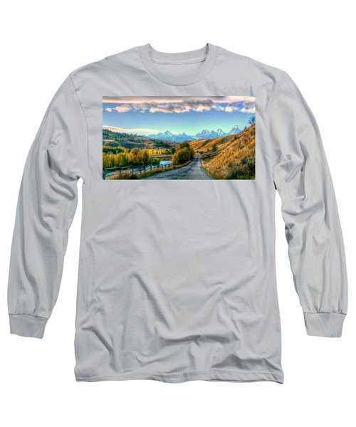 Atherton View Of Tetons Long Sleeve T-Shirt by Charlotte Schafer