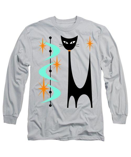 Atomic Cat Aqua And Orange  Long Sleeve T-Shirt