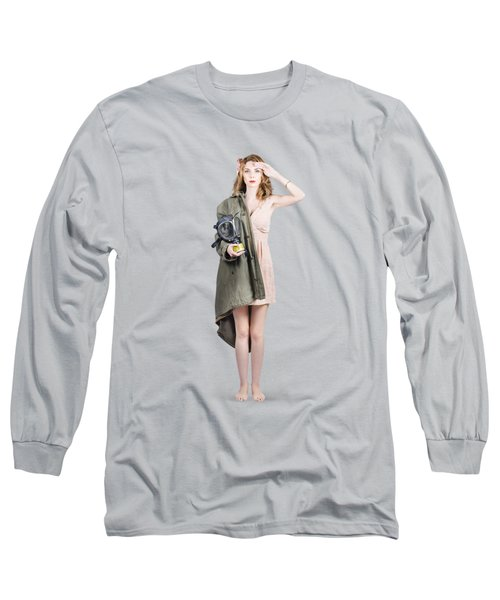 Long Sleeve T-Shirt featuring the photograph Attractive Young Australian Army Pinup Woman by Jorgo Photography - Wall Art Gallery