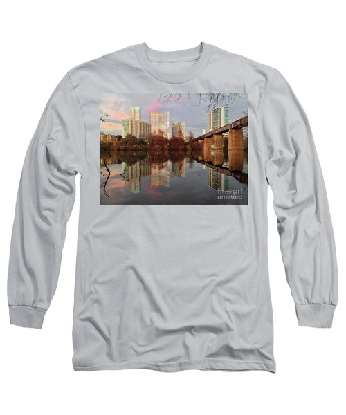 Austin Hike And Bike Trail - Train Trestle 1 Sunset Triptych Left Long Sleeve T-Shirt by Felipe Adan Lerma