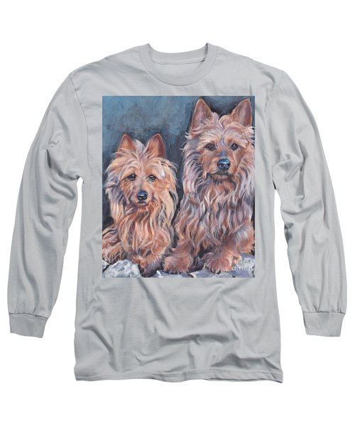 Long Sleeve T-Shirt featuring the painting Australian Terriers by Lee Ann Shepard