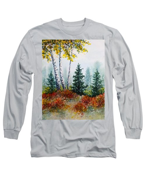 Long Sleeve T-Shirt featuring the painting Autumn Birch by Carolyn Rosenberger