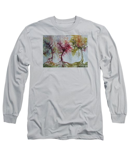 Long Sleeve T-Shirt featuring the painting Autumn Colors by Elena Oleniuc