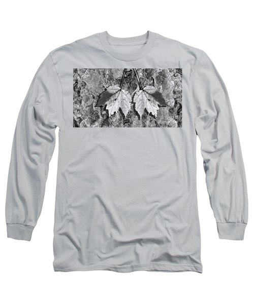 Autumn Leaf Abstract In Black And White Long Sleeve T-Shirt