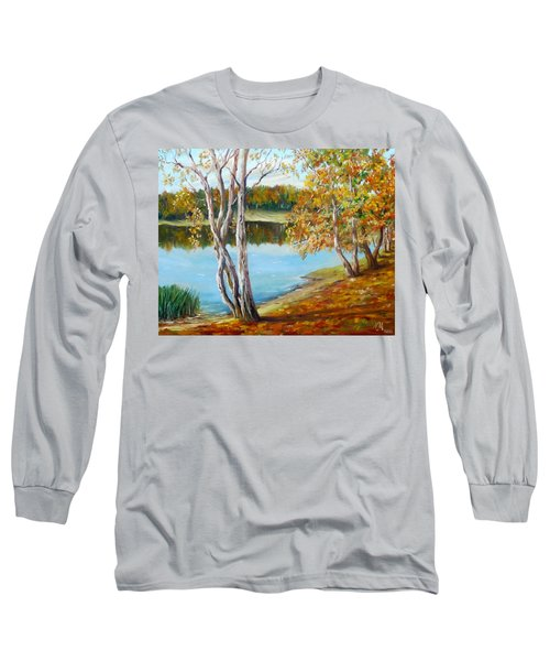 Long Sleeve T-Shirt featuring the painting Autumn by Nina Mitkova