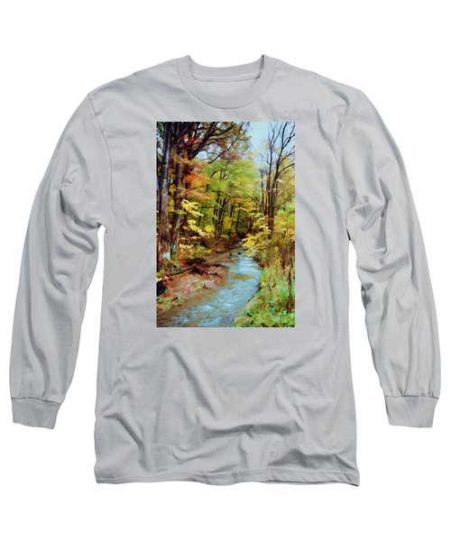 Long Sleeve T-Shirt featuring the photograph Autumn Stream by Diane Alexander