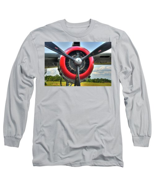 Long Sleeve T-Shirt featuring the photograph B 25 Red Trimmed Engine by Gary Slawsky