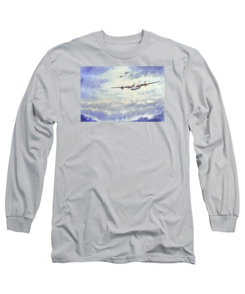 Long Sleeve T-Shirt featuring the painting B-24 Liberator Aircraft Painting by Bill Holkham