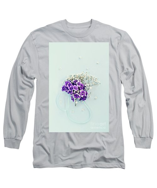 Baby's Breath And Violets Bouquet Long Sleeve T-Shirt by Stephanie Frey
