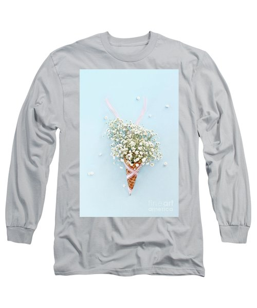 Long Sleeve T-Shirt featuring the photograph Baby's Breath Ice Cream Cone by Stephanie Frey