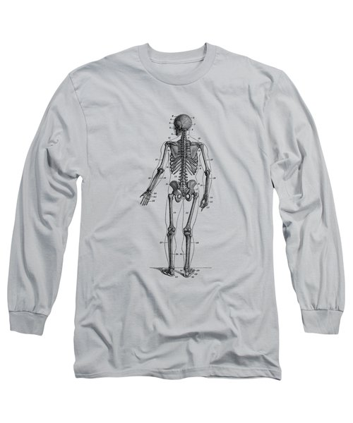 Backward Facing Skeletal Diagram - Vintage Anatomy Print Long Sleeve T-Shirt