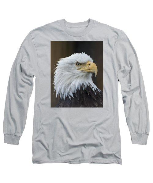 Bald Eagle Portrait Long Sleeve T-Shirt by Gary Lengyel