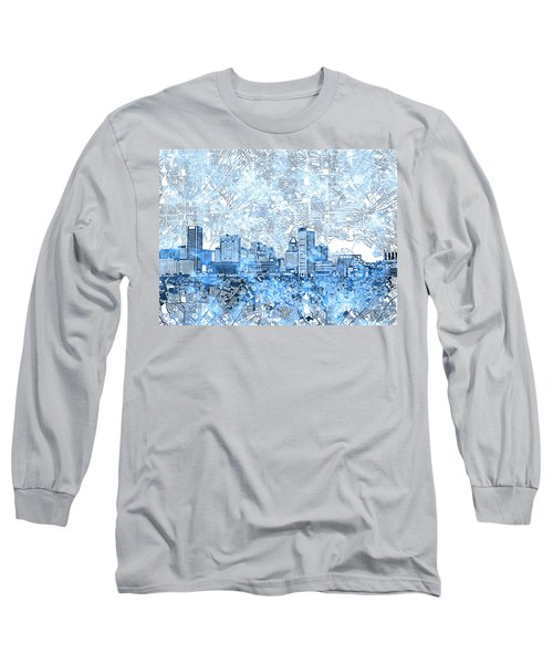 Long Sleeve T-Shirt featuring the painting Baltimore Skyline Watercolor 9 by Bekim Art