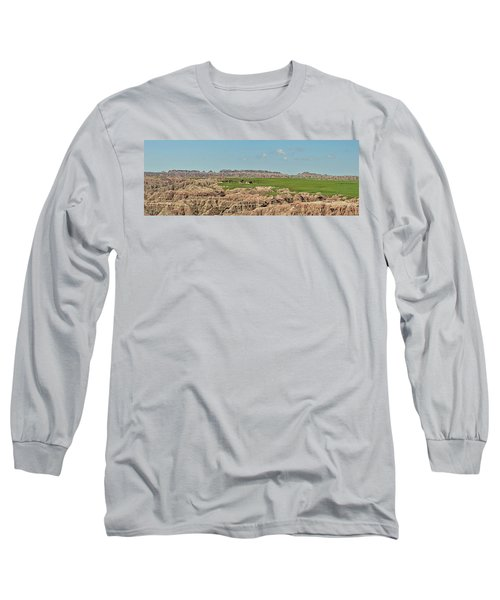 Badlands Panorama Long Sleeve T-Shirt by Nancy Landry
