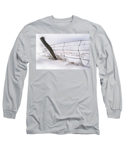 Barbed Wire And Hoar Frost Long Sleeve T-Shirt by Dan Jurak