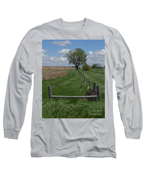Barbed Wire Fence Line Long Sleeve T-Shirt by Renie Rutten