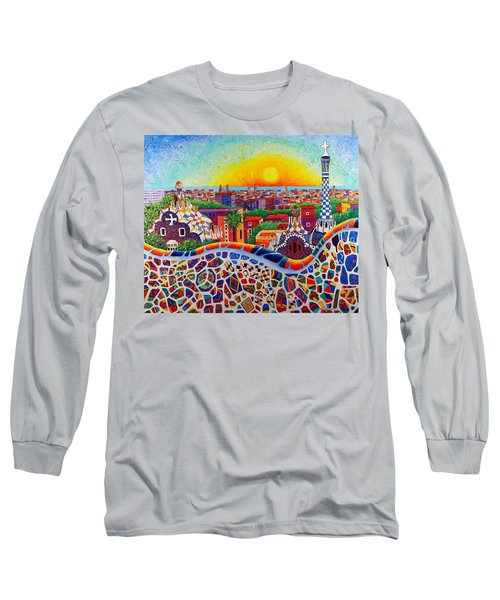 Barcelona Sunrise Colors From Park Guell Modern Impressionism Knife Oil Painting Ana Maria Edulescu Long Sleeve T-Shirt