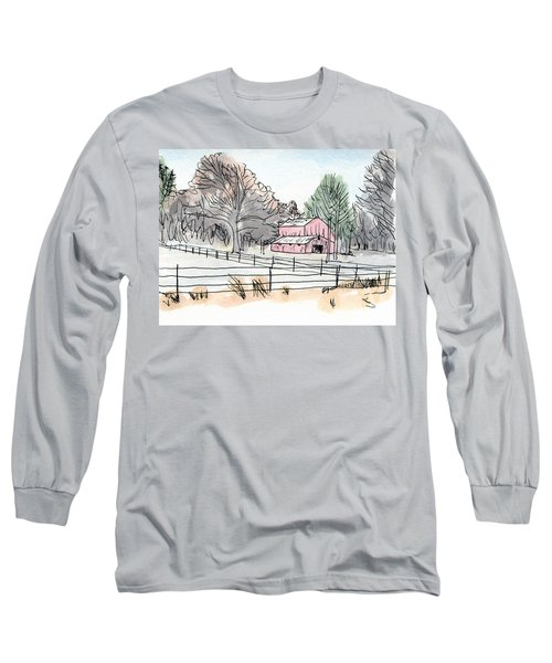 Barn In Winter Woods Long Sleeve T-Shirt by R Kyllo