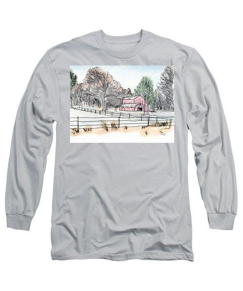 Barn In Winter Woods Long Sleeve T-Shirt
