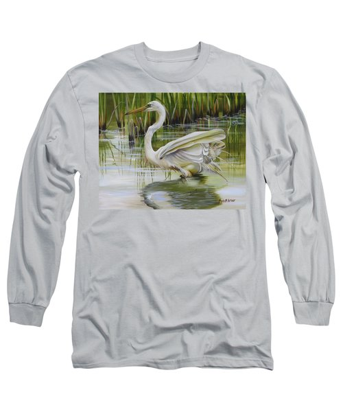 Bayou Caddy Great Egret Long Sleeve T-Shirt
