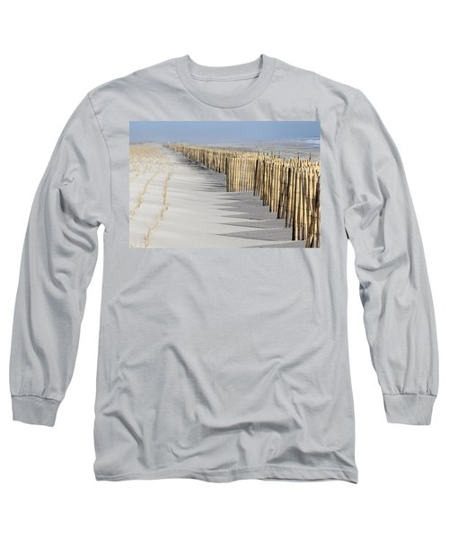 Beach Fence Shirley New York Long Sleeve T-Shirt by Bob Savage