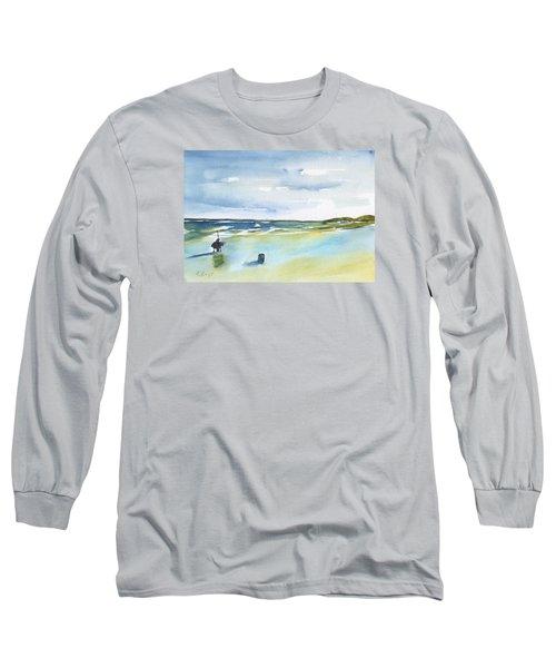 Beach Fishing Long Sleeve T-Shirt by Frank Bright