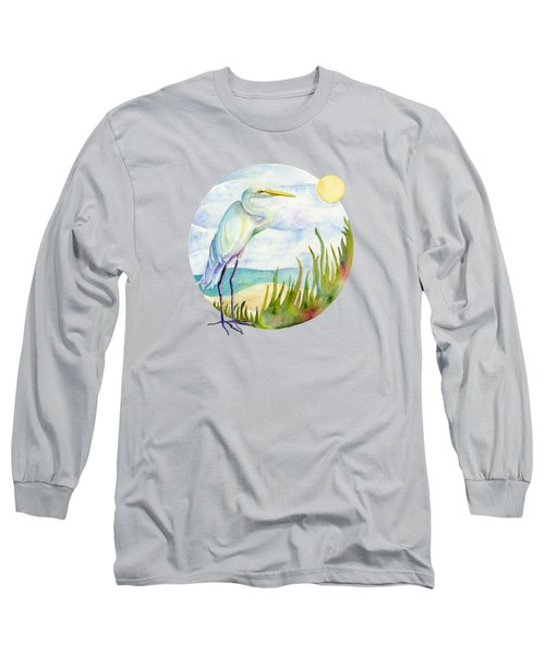 Beach Heron Long Sleeve T-Shirt by Amy Kirkpatrick