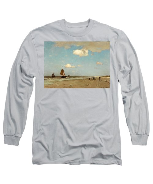 Long Sleeve T-Shirt featuring the painting Beach Scene by Jan Hendrik Weissenbruch