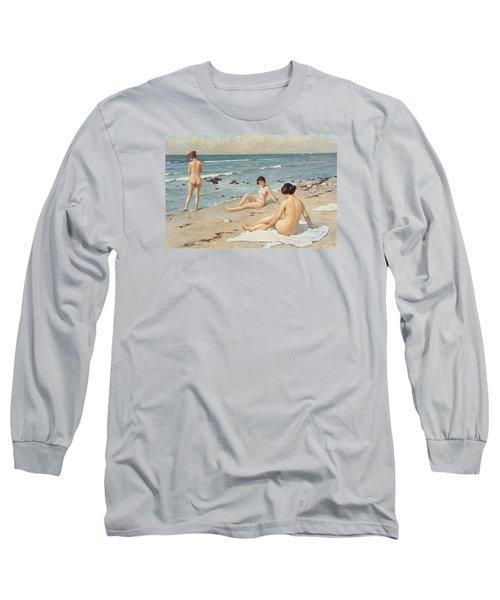 Beach Scenery With Bathing Women Long Sleeve T-Shirt by Paul Fischer
