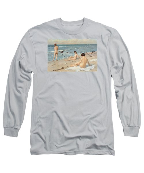 Beach Scenery With Bathing Women Long Sleeve T-Shirt