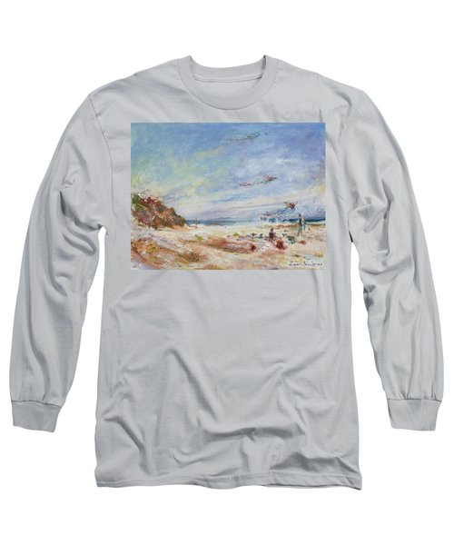 Beachy Day - Impressionist Painting - Original Contemporary Long Sleeve T-Shirt