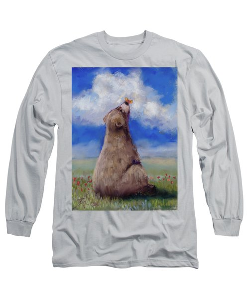 Long Sleeve T-Shirt featuring the pastel Bear And Butterfly by Billie Colson