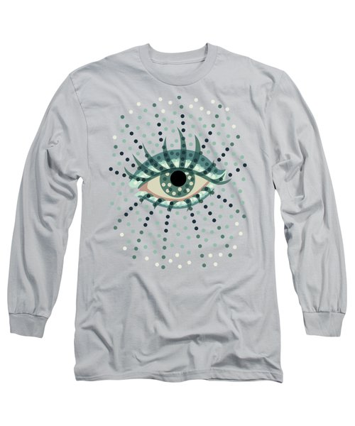 Beautiful Abstract Dotted Blue Eye Long Sleeve T-Shirt by Boriana Giormova