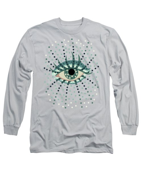 Beautiful Abstract Dotted Blue Eye Long Sleeve T-Shirt
